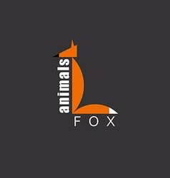 Orange Fox in the figure letter L animal logo zoo vector image