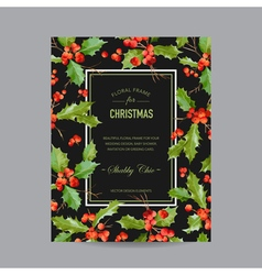 Vintage Holy Berry Christmas Card Winter vector image