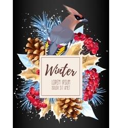 Winter card with rowan vector image vector image