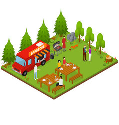 bbq isometric view vector image vector image