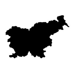 black silhouette country borders map of slovenia vector image