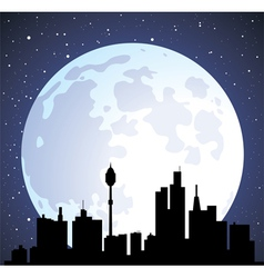 building silhouettes and moon vector image vector image