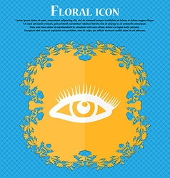 eyelashes icon Floral flat design on a blue vector image