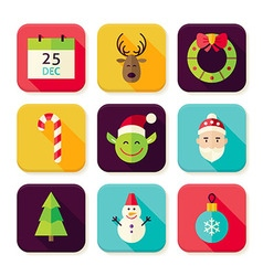 Merry Christmas New Year Square App Icons Set vector image