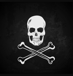 Pirate flag Skull with crossed bones vector image vector image