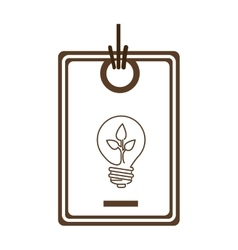 silhouette price tag of light bulb with leaf vector image