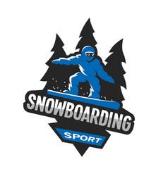snowboarding winter sports logo emblem vector image