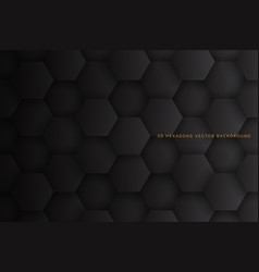 3d hexagons dark gray abstract background vector image