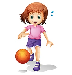 A little girl playing basketball vector