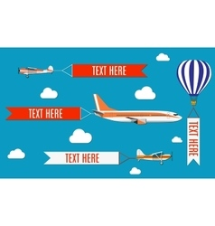 Aeroplane planes biplane and hot air balloon vector image