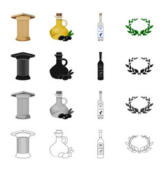Ancient greek column olive oil ouzo drink vector