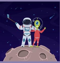 astronaut and alien selfie friendship between vector image