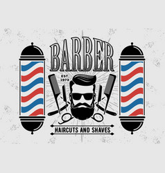 Barbershop logo with barber pole in vintage style vector