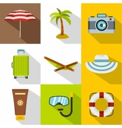 Beach icons set flat style vector