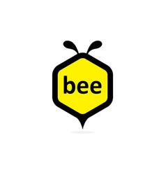 bee in hexagon shape vector image