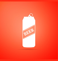 beer can icon isolated on orange background vector image