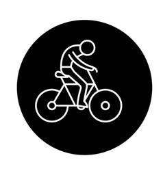 bicycle race black icon sign on isolated vector image
