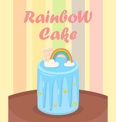 birthday cake with rainbow chocolate on table vector image