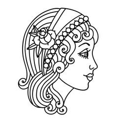 Black line tattoo a gypsy head vector