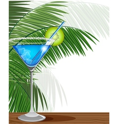 Blue cocktail with kiwi and palm branches vector image