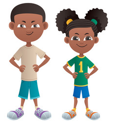 Boy and girl black vector