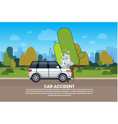 Broken car on road background with copy space vector