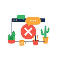 browser web site check mark prohibit icon simple vector image