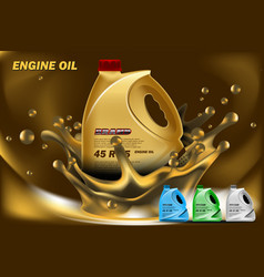Can of engine oil in splash oil vector