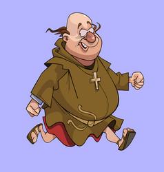 Cartoon cheerful man in a catholic monks cassock vector