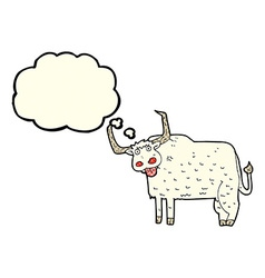 Cartoon hairy cow with thought bubble vector