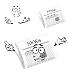 Cartoon happy newspaper icon character vector image