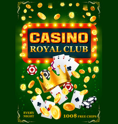 Casino poker cards chips and golden coins vector