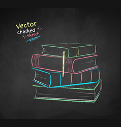chalked pile books vector image