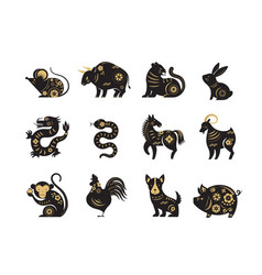 Chinese new year zodiac signs papercut icons and vector