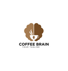 Coffee brain logo design template vector