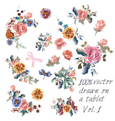 collection hand drawn flowers in watercolor style vector image