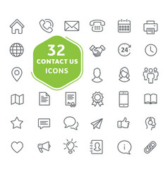 Contact us icons outline icons collection vector
