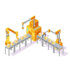 Conveyor system isometric vector