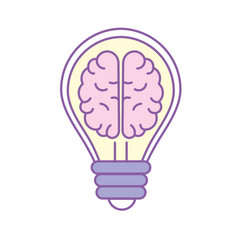 Creative bulb with brain inside over white vector