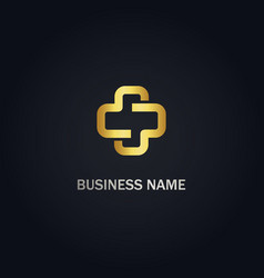 cross medic gold logo vector image