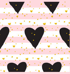 cute brush heart paint seamless pattern vector image