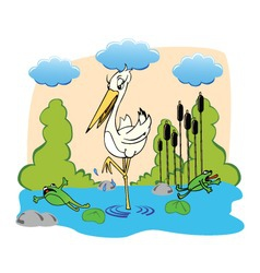 Cute drawing of a stork and frogs running away fro vector