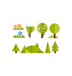 cute green plants and trees of fantastic shape set vector image