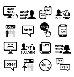 Cyberbullying icons set vector