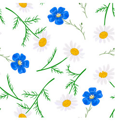 daisy and forget-me-not seamless pattern vector image