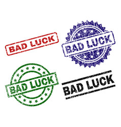 Damaged textured bad luck seal stamps vector