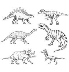 dinosaurs set triceratops brontosaurus vector image