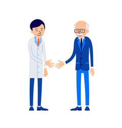 Doctor and patient doctor welcomes patient vector