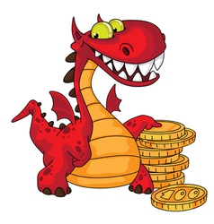 dragon and money vector image vector image