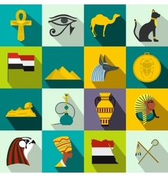 Egypt icons flat vector